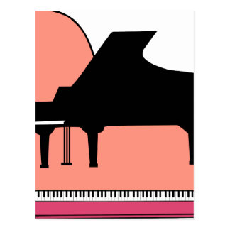 Piano Black Sillouette Pink Top View Postcard