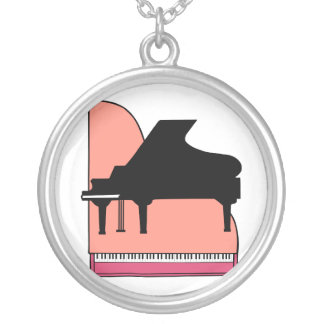 Piano Black Sillouette Pink Top View Round Pendant Necklace