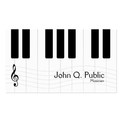 Piano blanco y negro del músico tarjetas de visita