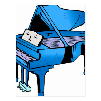 Piano Blue With Face Piano Graphic Design Postcard