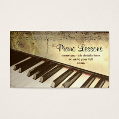 Piano Business Card at Zazzle