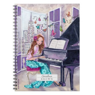 Piano Butterfly Music Girl | Photo Notebook