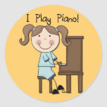 Piano - camisetas y regalos femeninos pegatina redonda