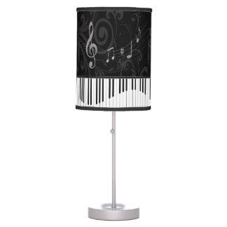Piano caprichoso y notas musicales lámpara de mesilla de noche