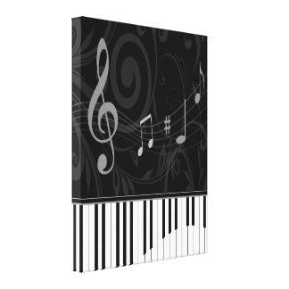 Piano caprichoso y notas musicales impresión de lienzo