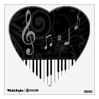Piano caprichoso y notas musicales vinilo decorativo