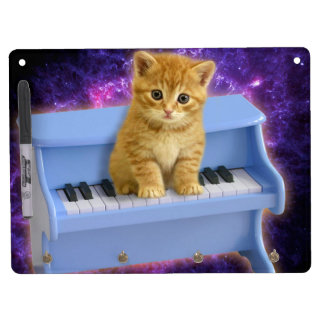 Piano cat dry erase board with keychain holder
