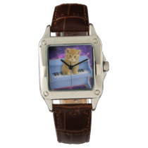 Piano cat wrist watch