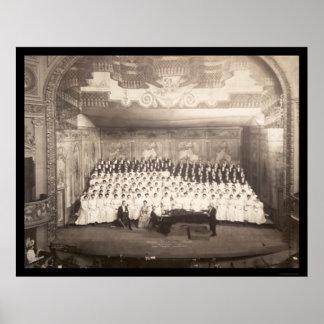 Piano Choir Milwaukee Photo 1906 Poster
