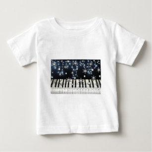 piano christmas snowflake keyboard baby t shirt