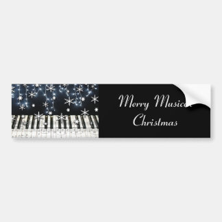 Piano Christmas Snowflake Keyboard Bumper Sticker
