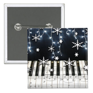 Piano Christmas Snowflake Keyboard Pinback Buttons