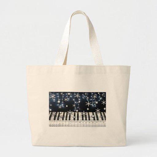 Piano Christmas Snowflake Keyboard Canvas Bags