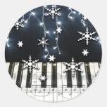 Piano Christmas Snowflake Keyboard Classic Round Sticker