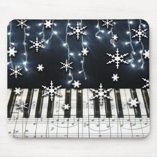 Piano Christmas Snowflake Keyboard Mouse Pad