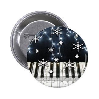 Piano Christmas Snowflake Keyboard Pinback Button
