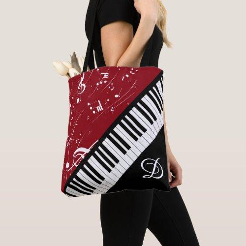 Piano Clarinet Music Script Monogram Black Red All-Over-Print Tote Bag
