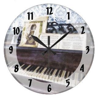 Piano Closeup Large Clock
