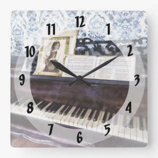 Piano Closeup Square Wall Clock