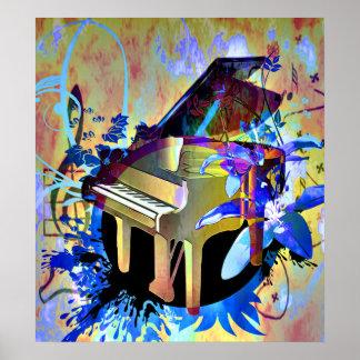 Piano coloreado Digital enrrollado Póster