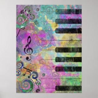 Piano colorido de las salpicaduras frescas de los  impresiones