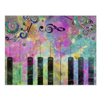 Piano colorido de las salpicaduras frescas de los postal
