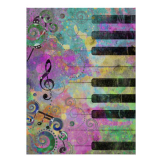 Piano colorido de las salpicaduras frescas de los  póster