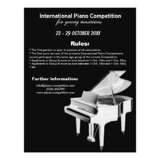 """Piano Competition 8.5"""" X 11"""" Flyer"""