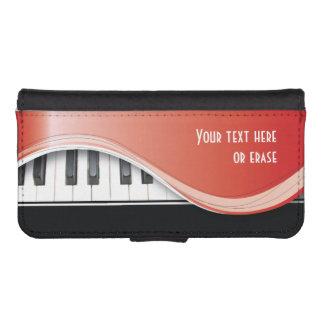 Piano con clase rojo adaptable funda tipo billetera para iPhone 5