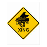 Piano Crossing Highway Sign Postcard