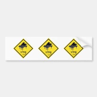 Piano Crossing Xing Traffic Sign Bumper Sticker