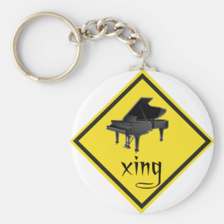 Piano Crossing Xing Traffic Sign Keychain