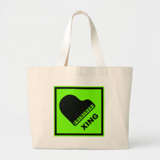 Piano Crossing Xing Traffic Sign Tote Bags