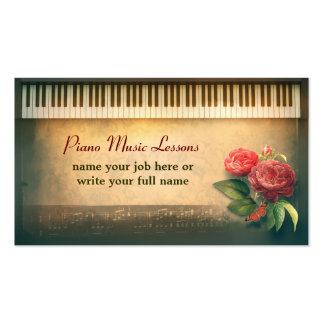 piano custom business cards