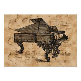 """Piano de cola antiguo en la página de la hoja de invitación 5"""" x 7"""""""