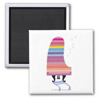 Piano de cola colorido imán cuadrado