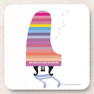 Piano de cola colorido posavasos de bebidas