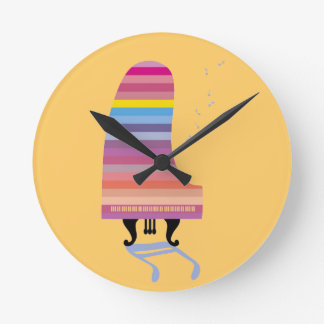 Piano de cola colorido reloj redondo mediano