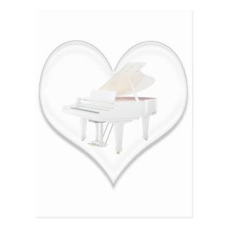 Piano de cola de cristal del blanco del corazón tarjetas postales