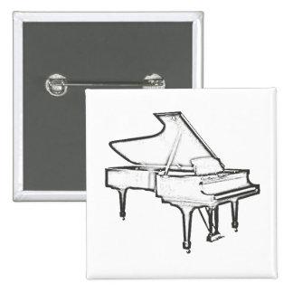 """Piano de cola """"dibujo """" pin cuadrada 5 cm"""
