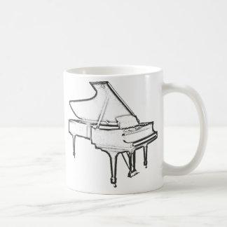 """Piano de cola """"dibujo """" taza básica blanca"""