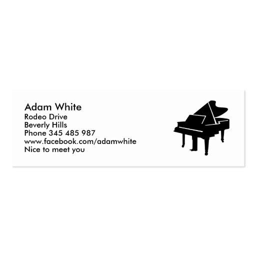 Piano de cola negro tarjetas de visita