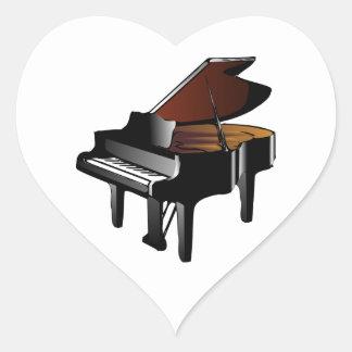 Piano de cola pegatina en forma de corazón