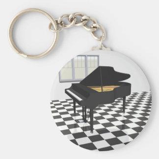 Piano de cola y suelo de baldosas: modelo 3D: Llavero Redondo Tipo Pin
