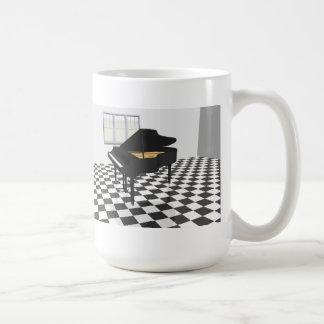 Piano de cola y suelo de baldosas: modelo 3D: Taza Básica Blanca