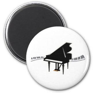 Piano de cola y teclado imán redondo 5 cm