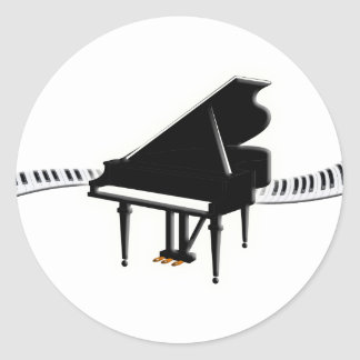 Piano de cola y teclado pegatina redonda