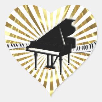 Piano de cola y teclado pegatina en forma de corazón