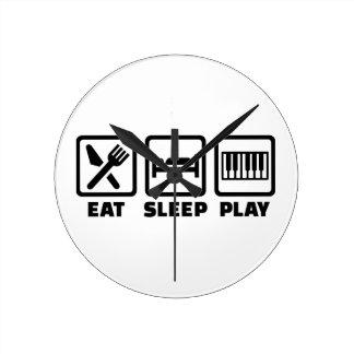 Piano de Eat Sleep Play Relojes De Pared
