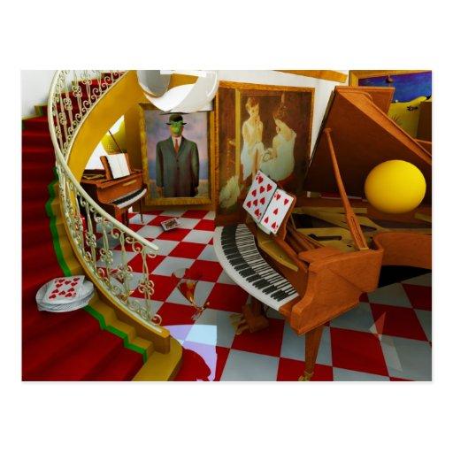 Piano de las pinturas de la música, guitarra eléct postales
